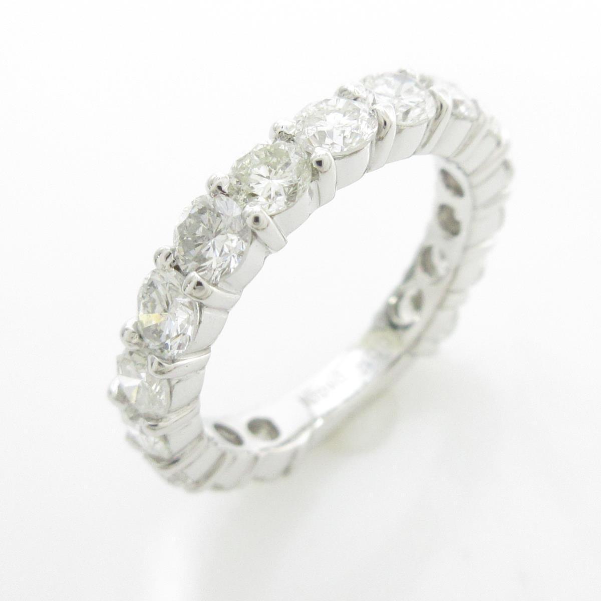 K18WG ハーフエタニティ ダイヤモンドリング【中古】