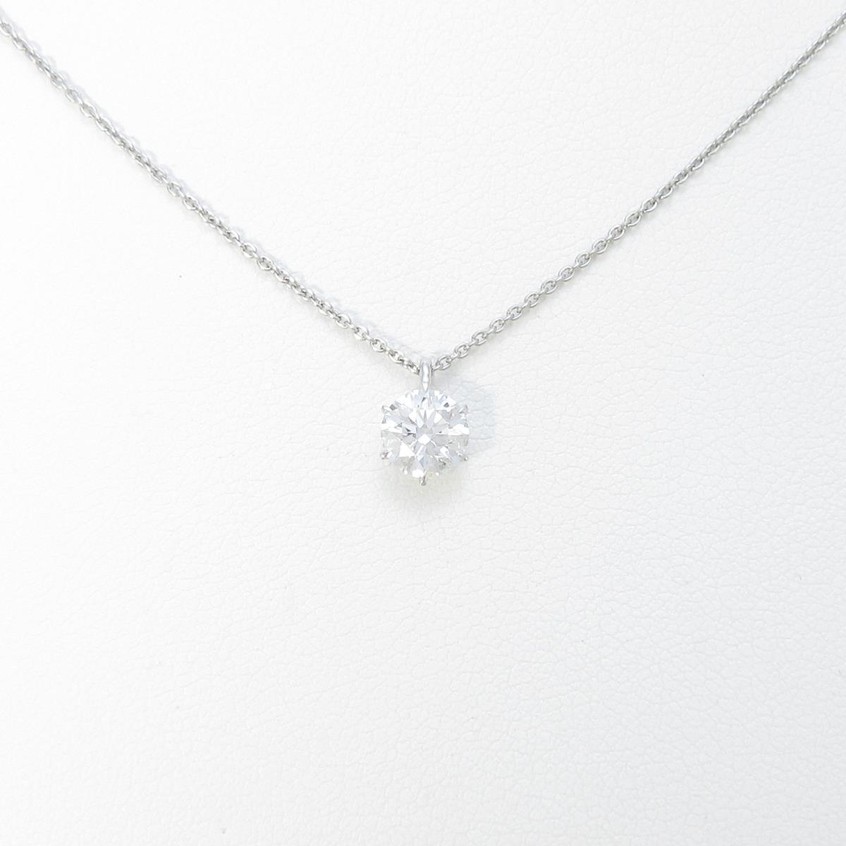 【リメイク】プラチナダイヤモンドネックレス 0.601ct・F・SI1・EXT・H&C【中古】