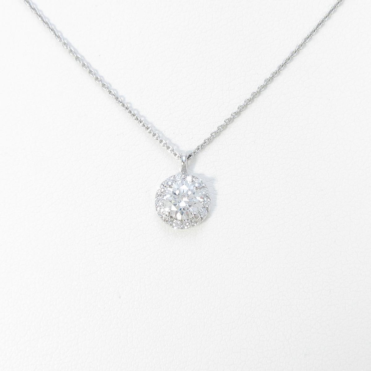 【リメイク】プラチナダイヤモンドネックレス 0.578ct・F・SI1・3EXT・H&C【中古】