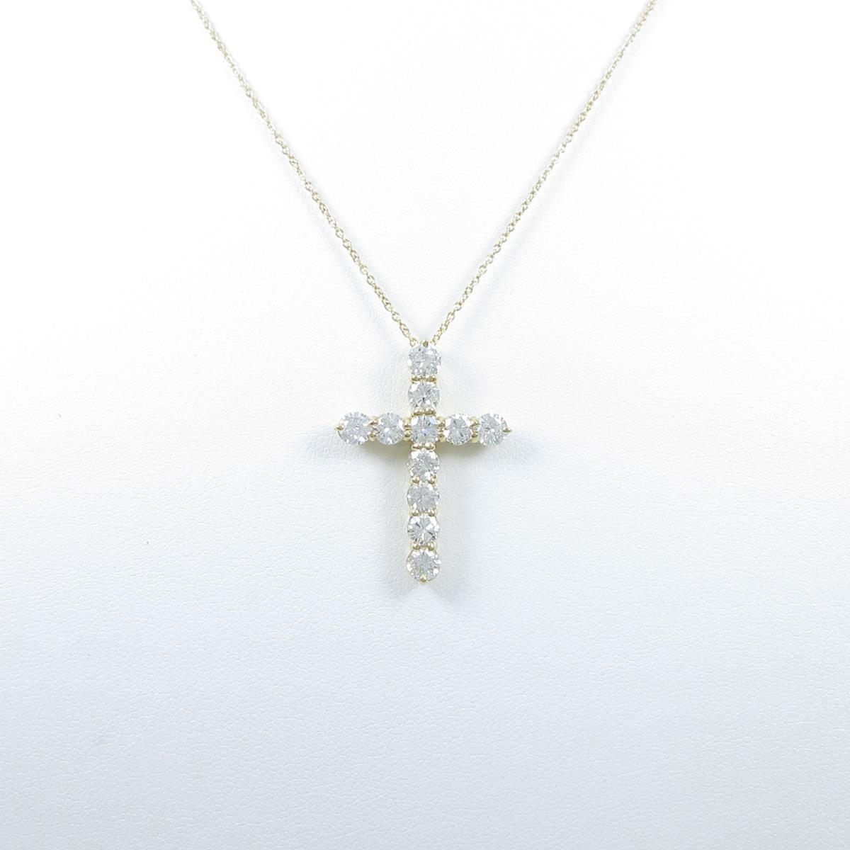 【リメイク】K18YG クロス ダイヤモンドネックレス【中古】