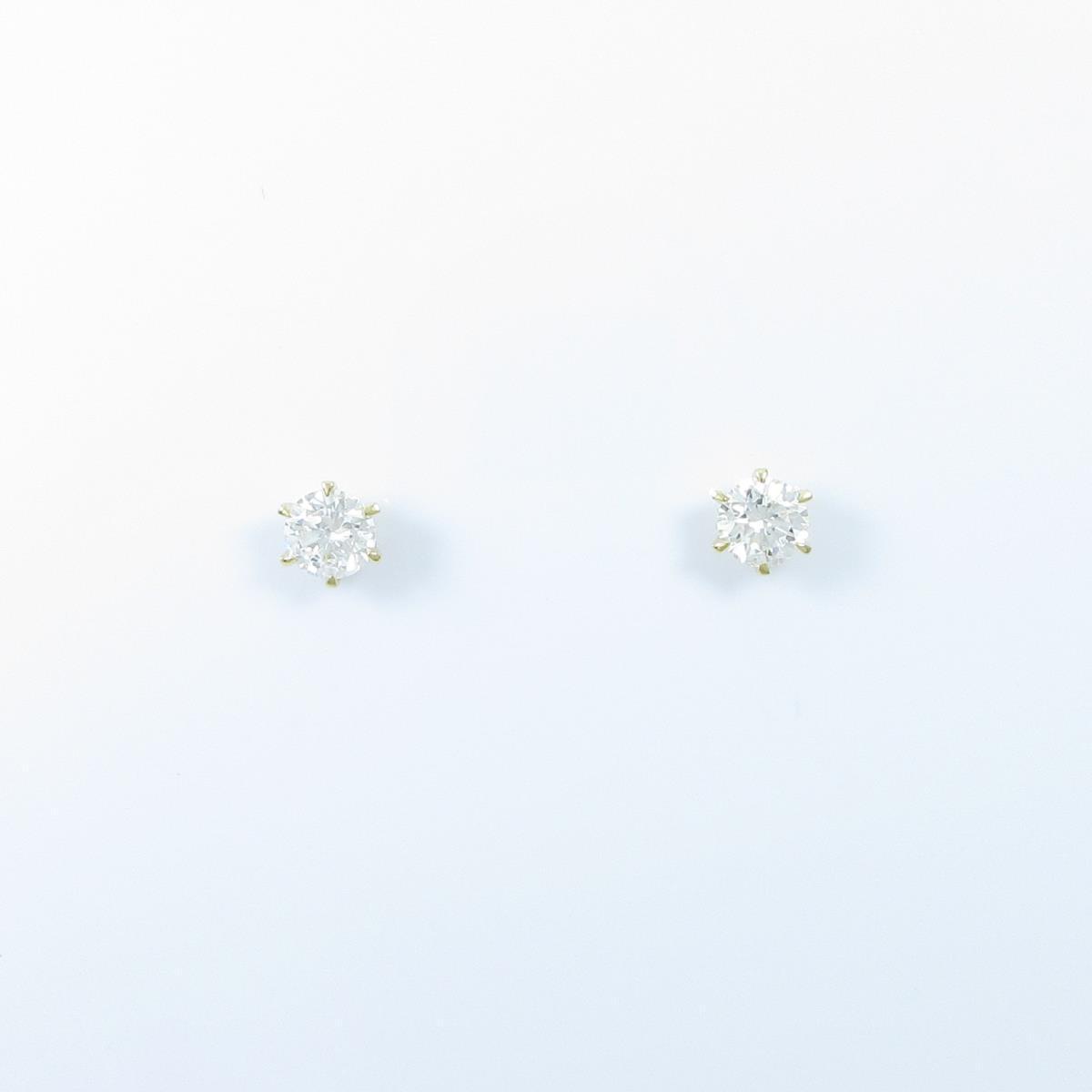 【リメイク】K18YG/ST ダイヤモンドピアス 0.308ct・0.314ct・F・SI2・GOOD【中古】