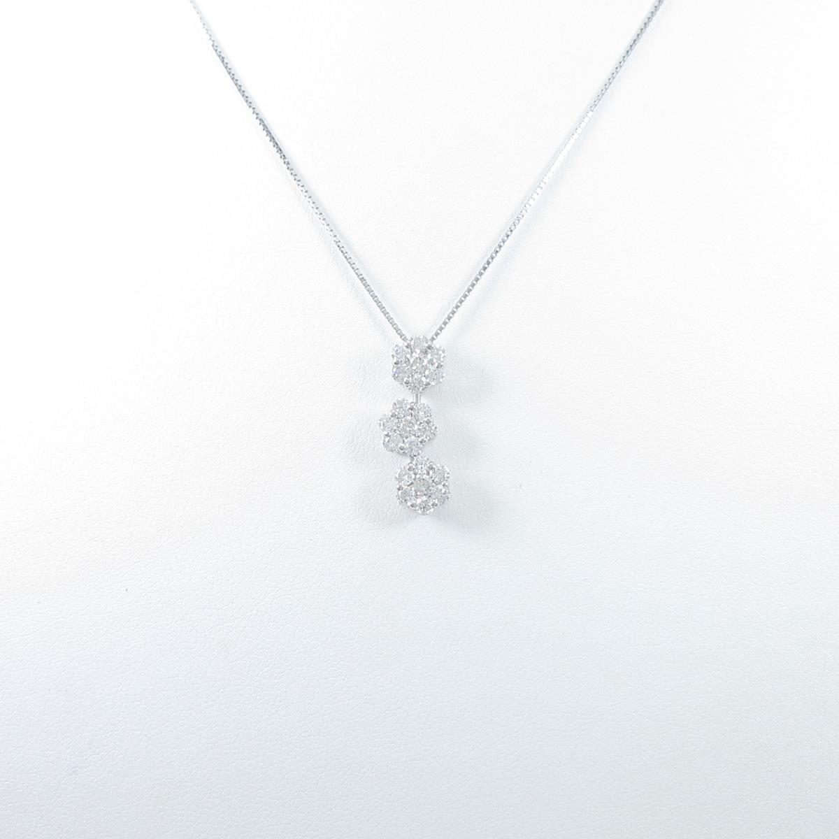 K18WG 2WAY フラワー ダイヤモンドネックレス【中古】