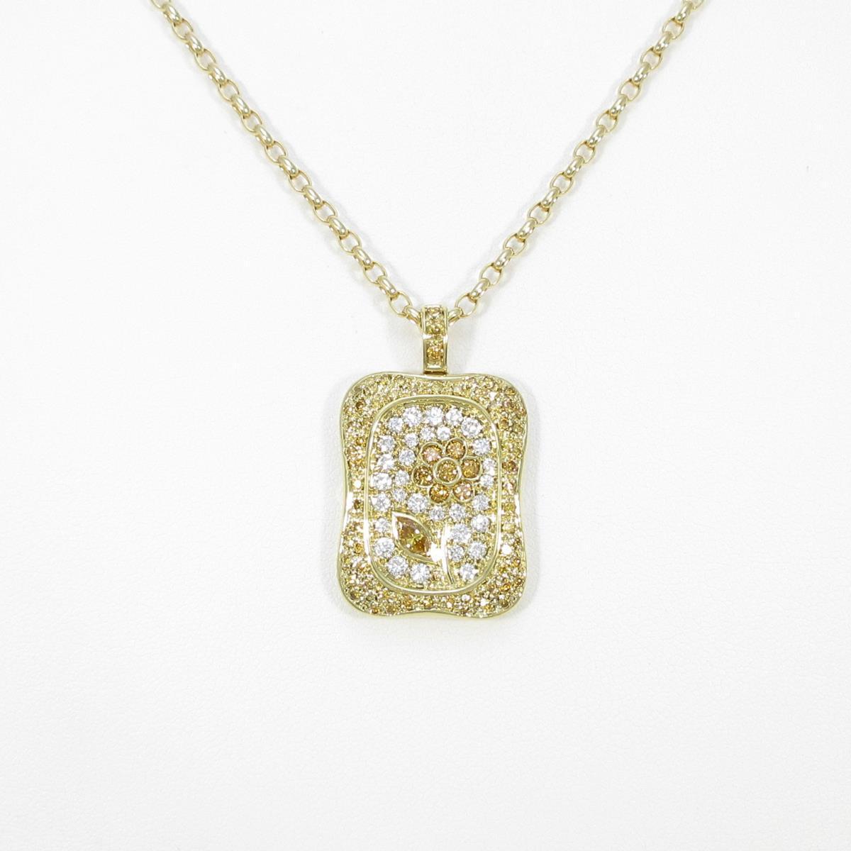 K18YG フラワー ダイヤモンドネックレス【中古】