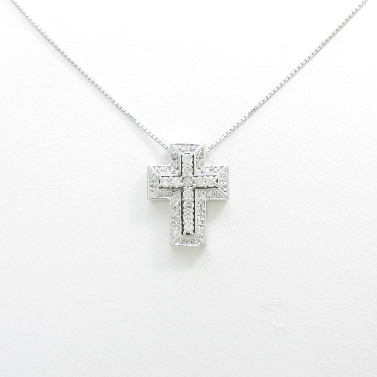K14WG クロス ダイヤモンドネックレス【中古】
