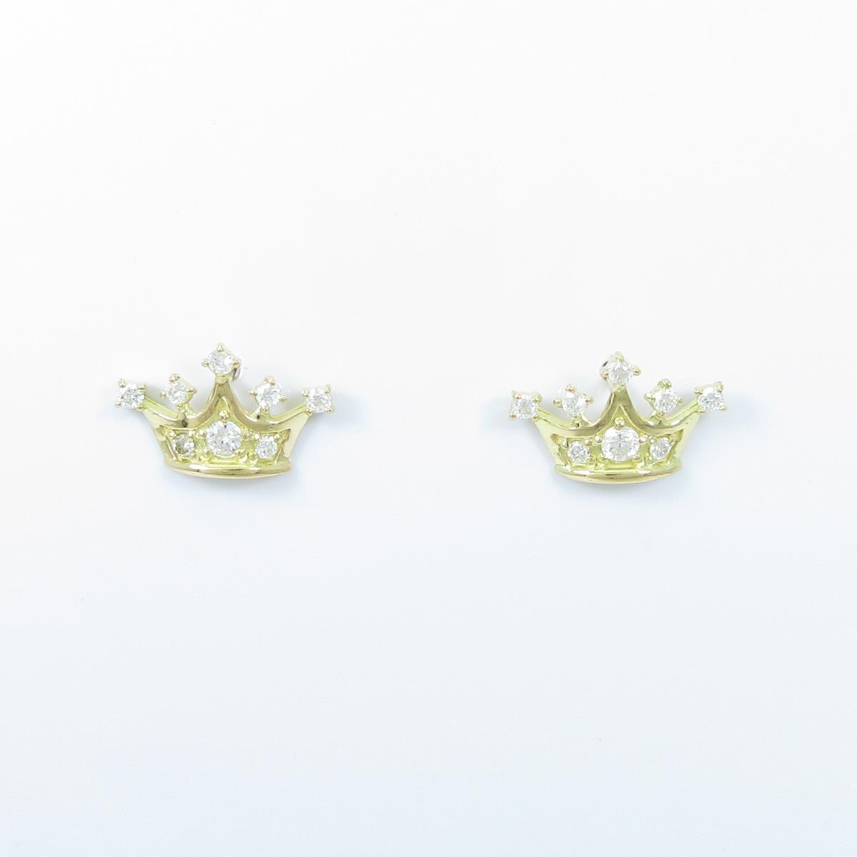 【リメイク】K18YG クラウン ダイヤモンドピアス【中古】