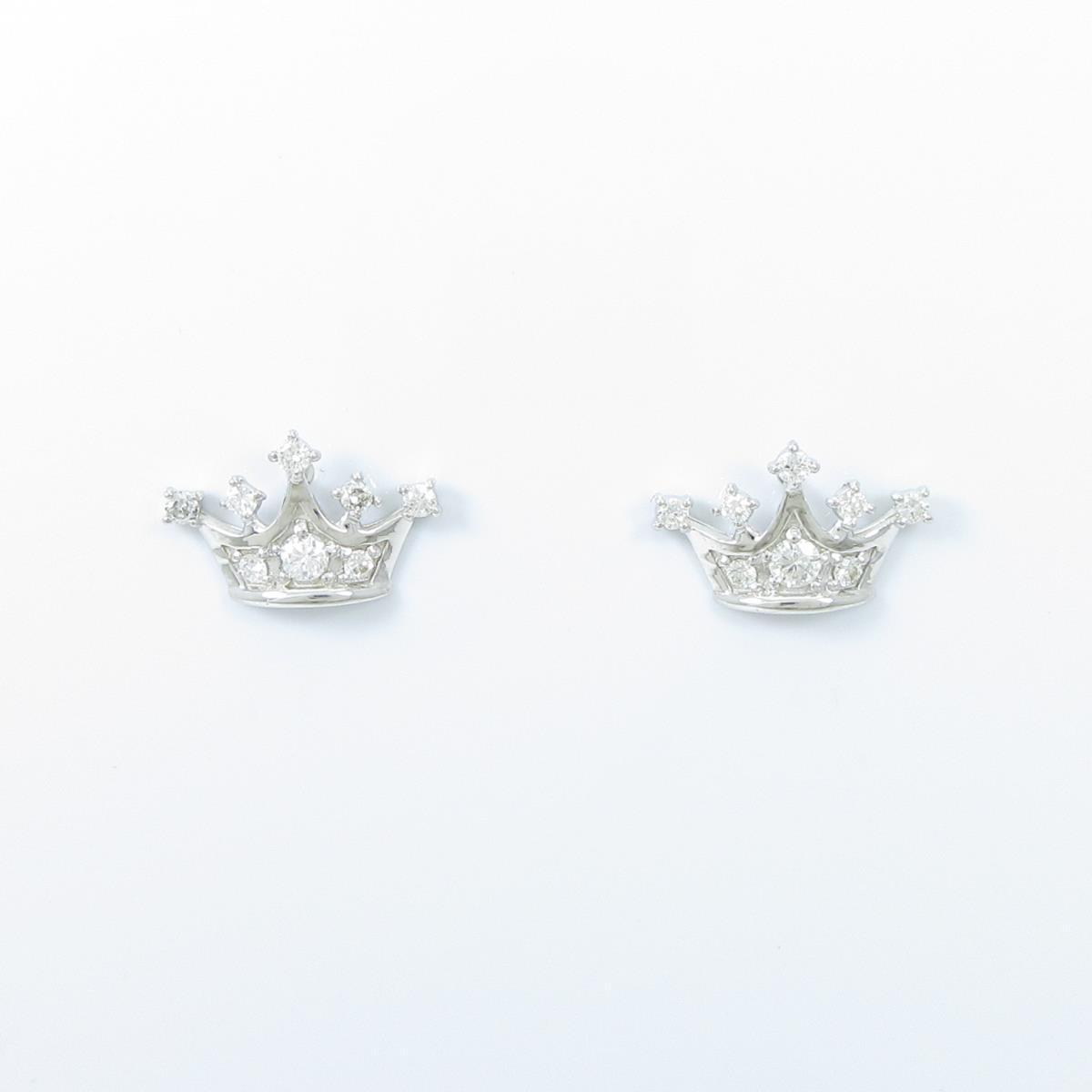 【リメイク】K18WG クラウン ダイヤモンドピアス【中古】