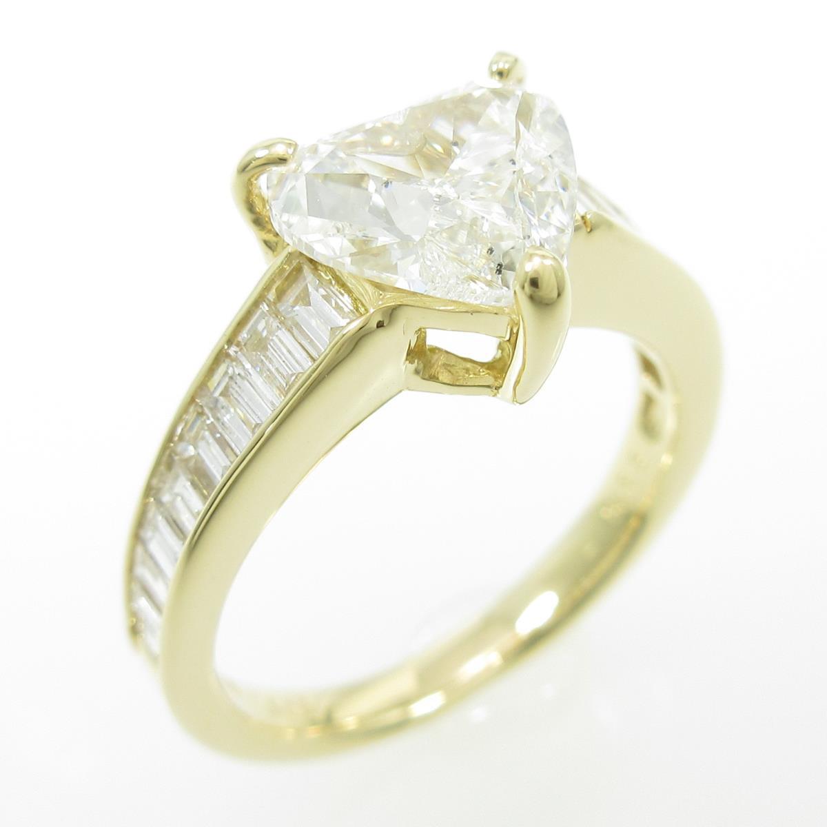 【リメイク】K18YG ハート ダイヤモンドリング 1.508ct・H・SI1・ハートシェイプ【中古】