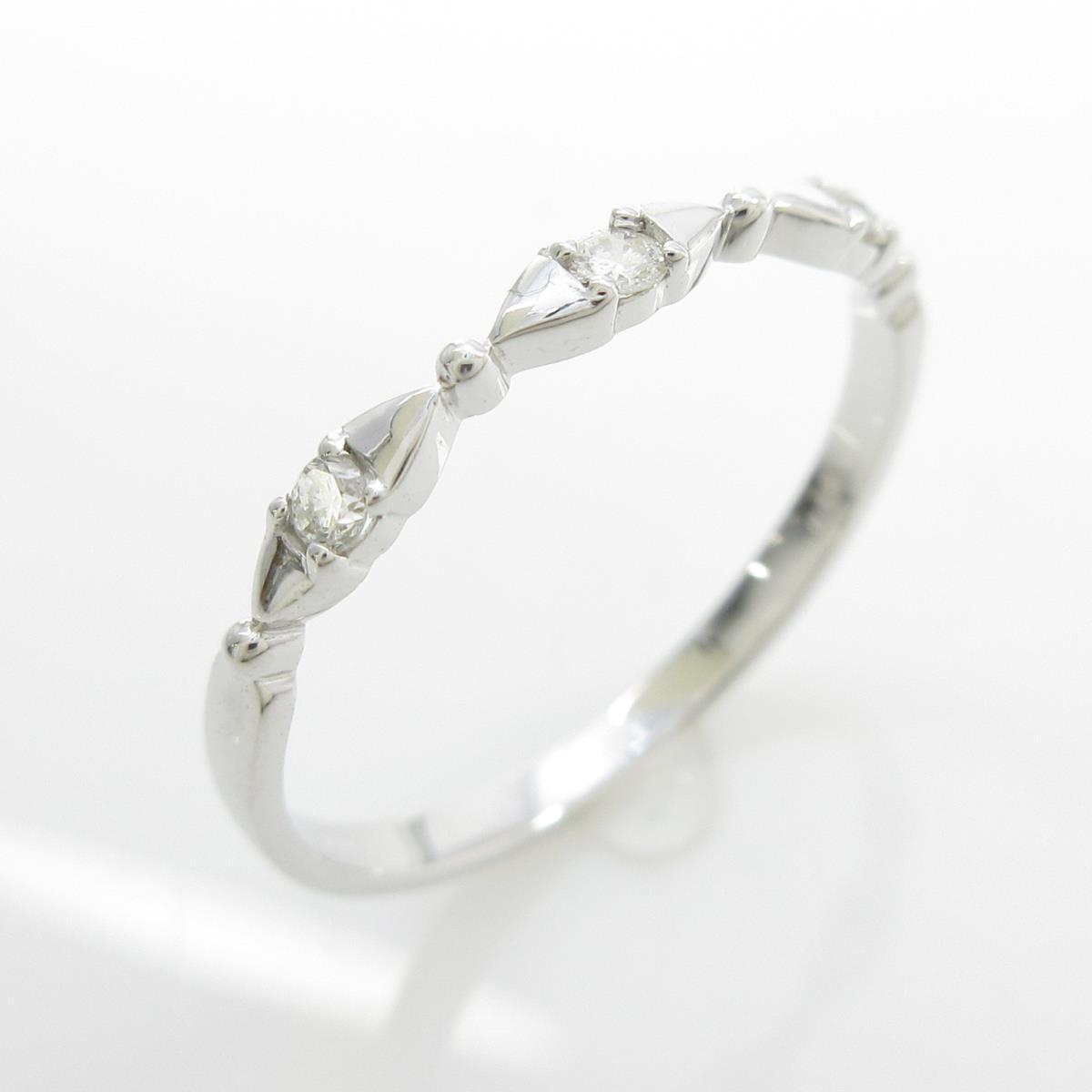 【リメイク】K18WG スリーストーン ダイヤモンドリング【中古】