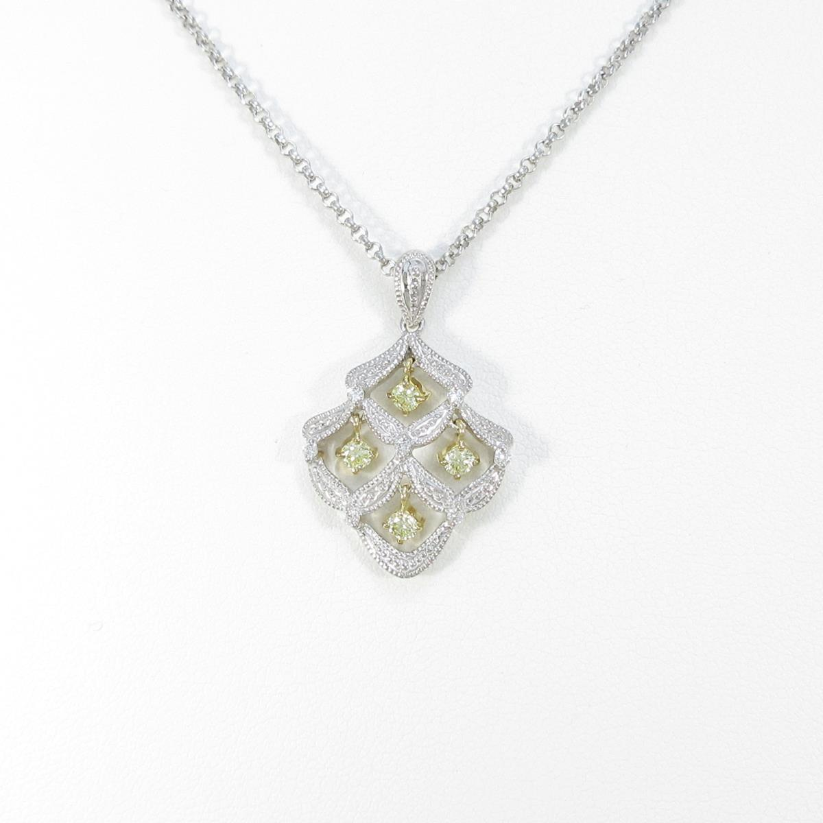 K18WG/K18YG ダイヤモンドネックレス【中古】