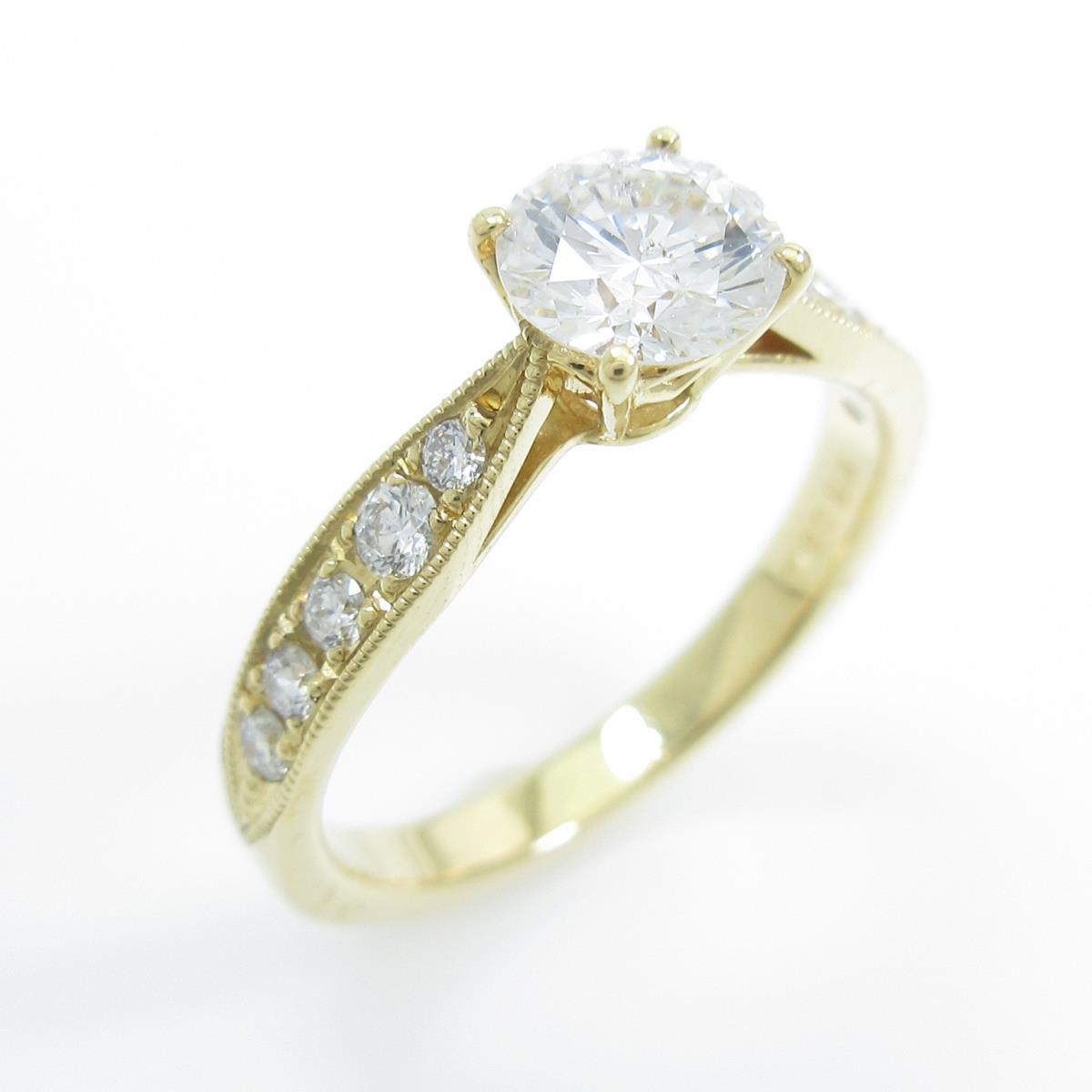 【リメイク】K18YG ダイヤモンドリング 0.610ct・F・SI2・VG【中古】