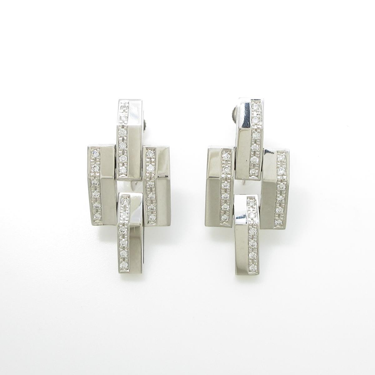 750WG/K14WG ダイヤモンドイヤリング【中古】