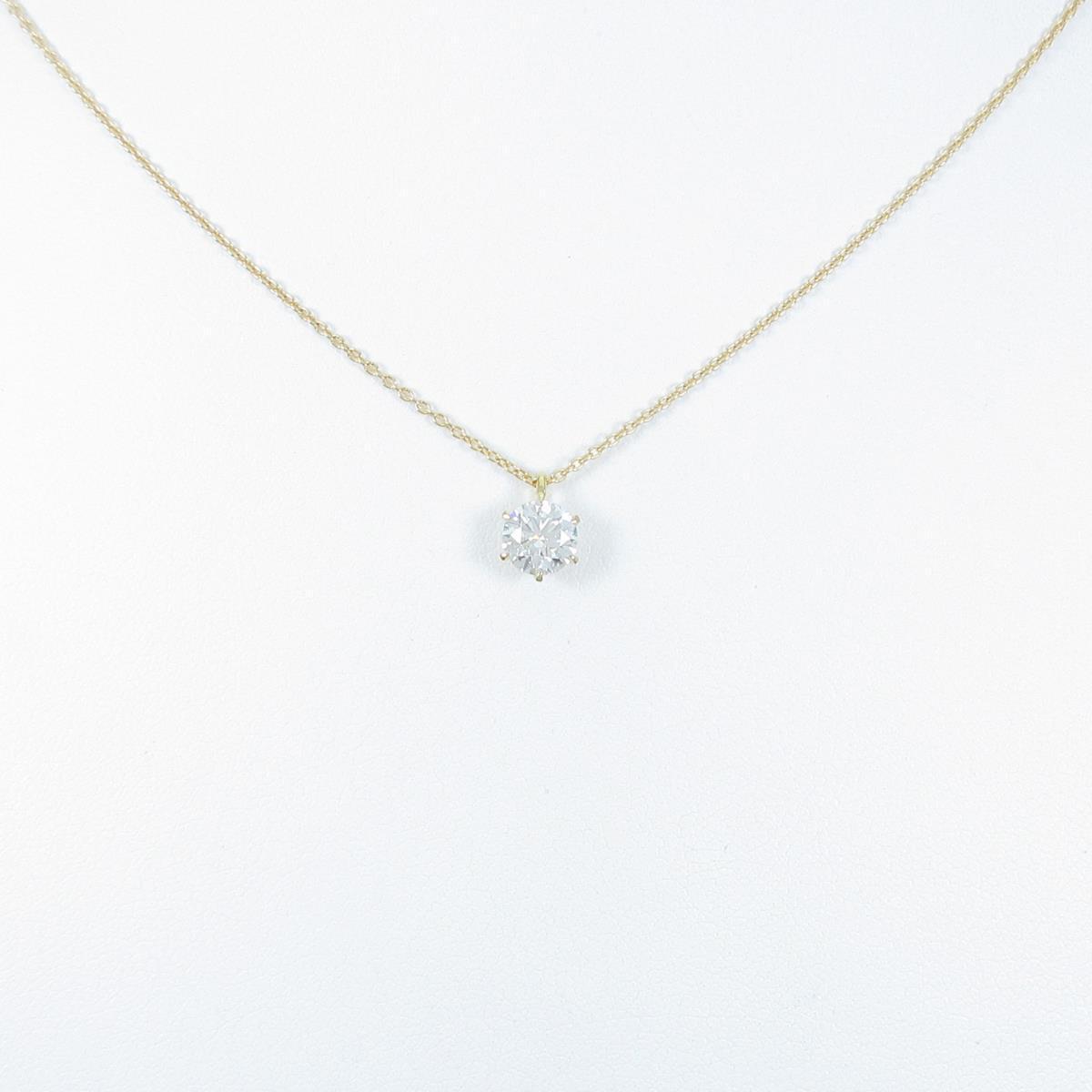 【リメイク】K18YG ダイヤモンドネックレス 0.639ct・G・VS1・EX H&C【中古】