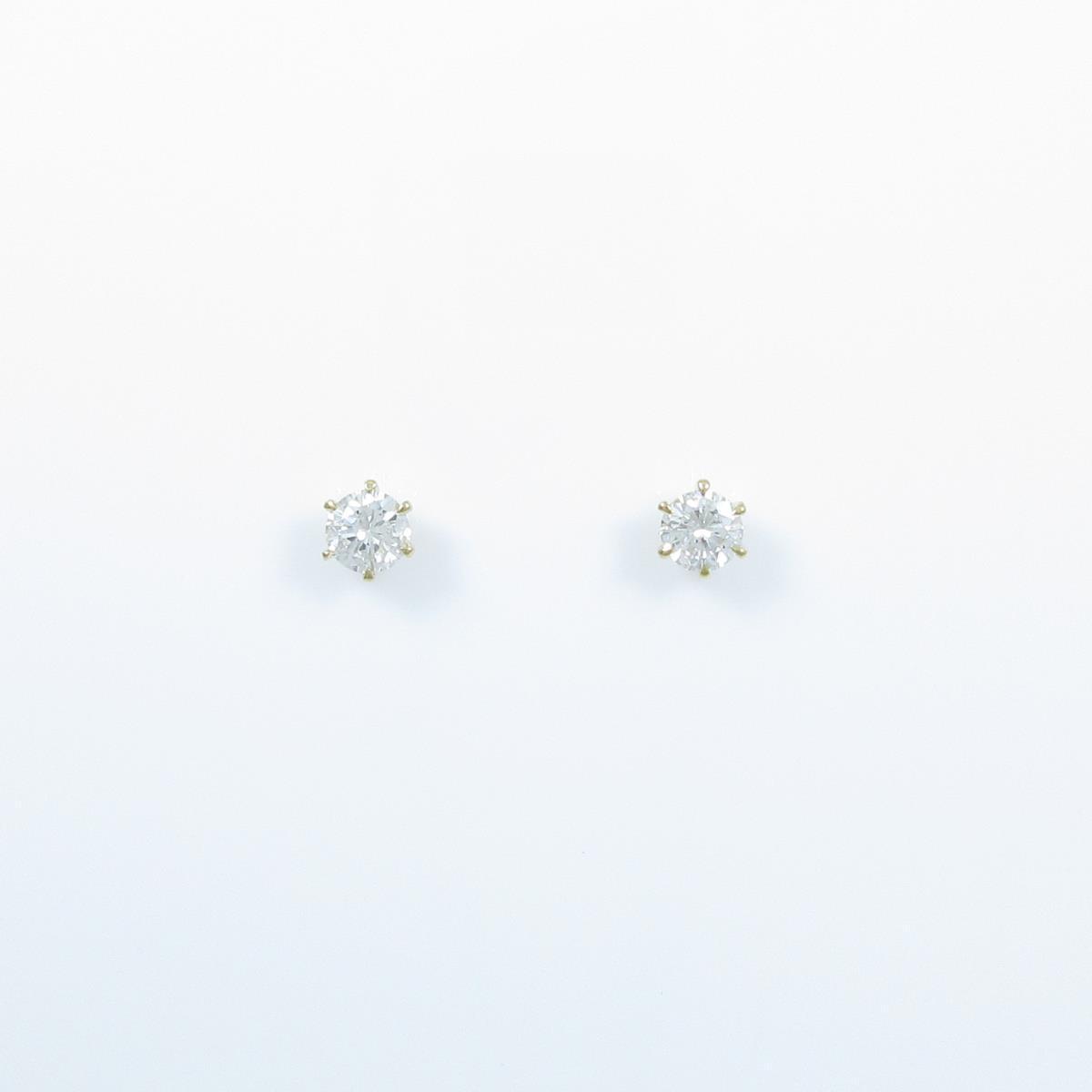 【リメイク】K18YG/ST ダイヤモンドピアス 0.203ct・0.233ct・F・SI1・VG-GOOD【中古】