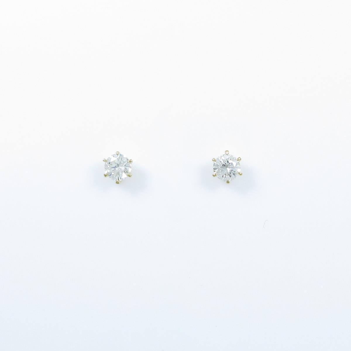 【リメイク】K18YG/ST ダイヤモンドピアス 0.219ct・0.222ct・I・VS1・VG-GOOD【中古】