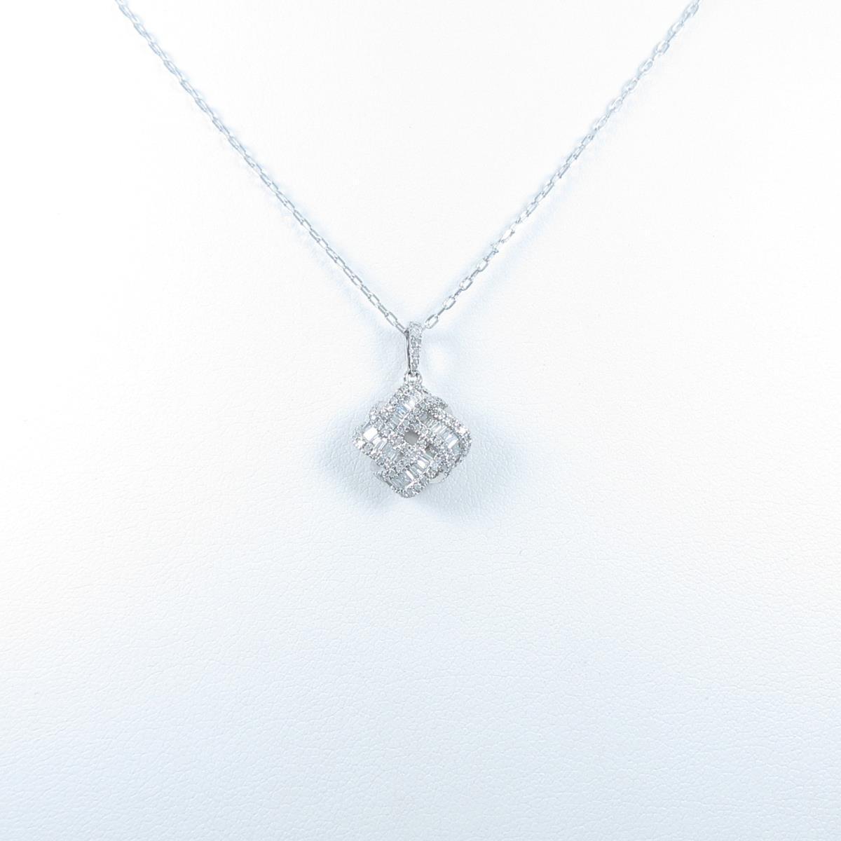 K18WG ダイヤモンドネックレス【中古】