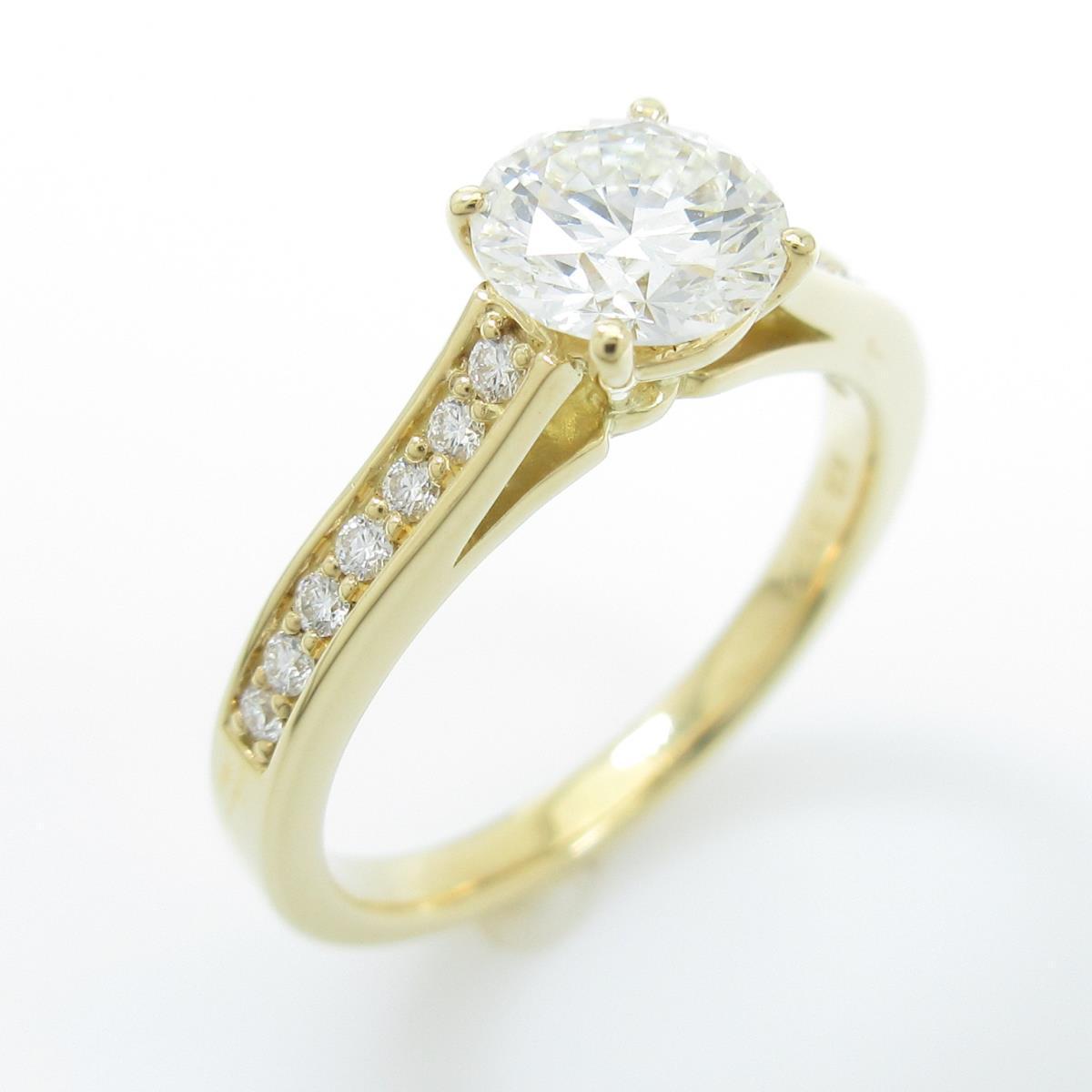 【リメイク】K18YG ダイヤモンドリング 0.803ct・I・VVS2・3EXT H&C【中古】