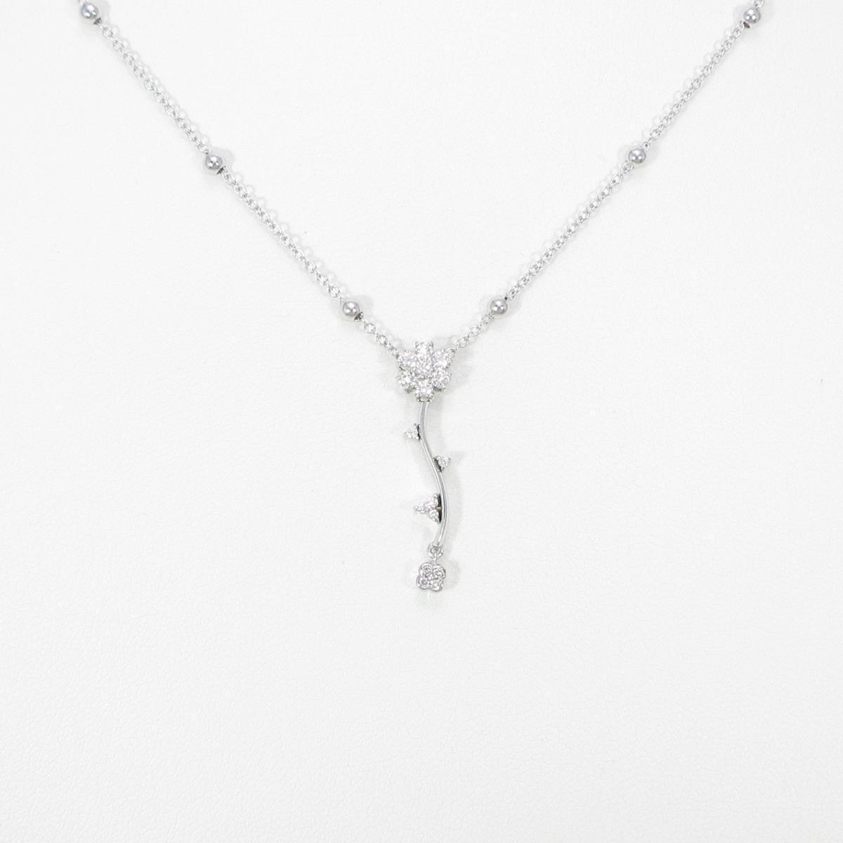 K18WG フラワー ダイヤモンドネックレス【中古】