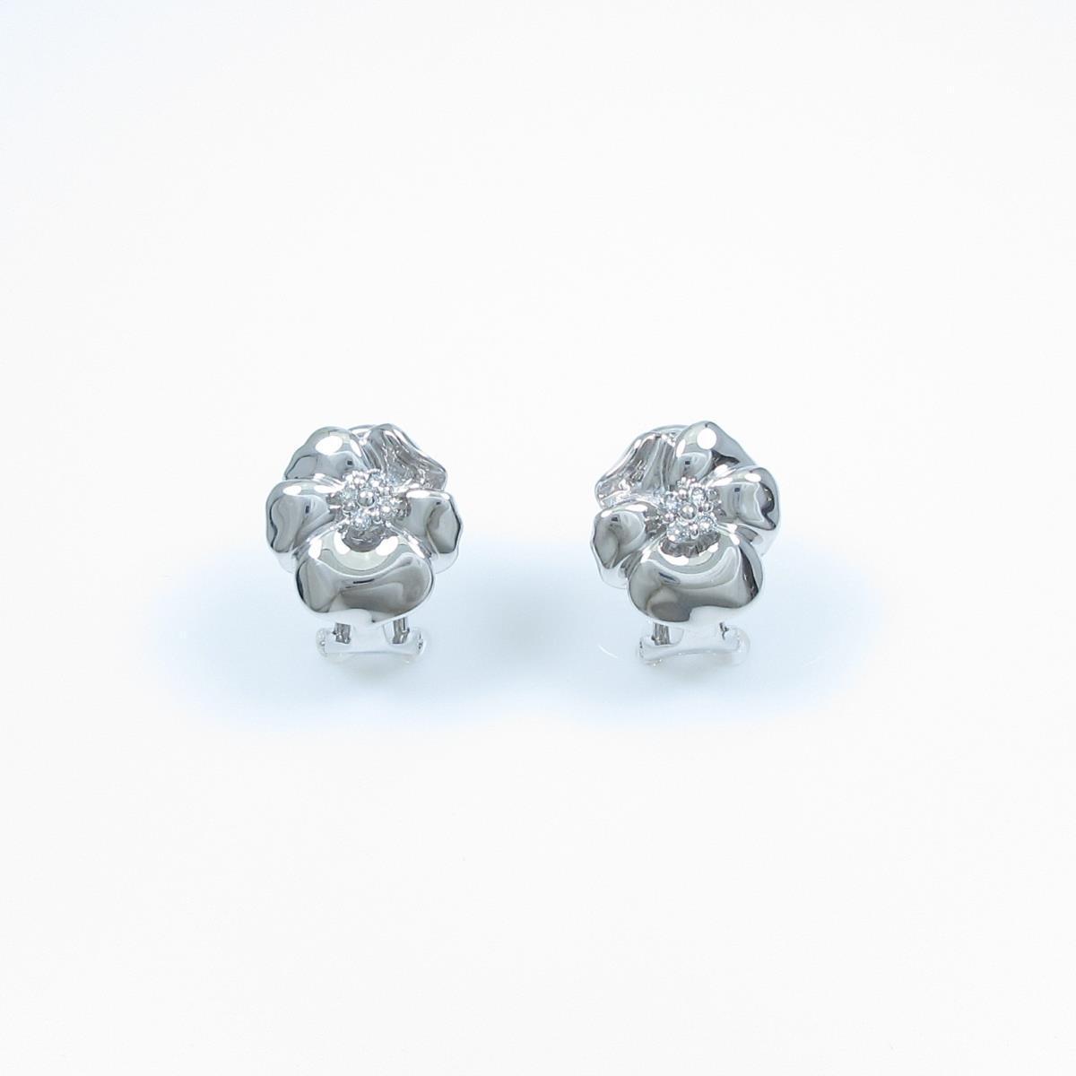 750WG/K18WG フラワー ダイヤモンドピアス【中古】