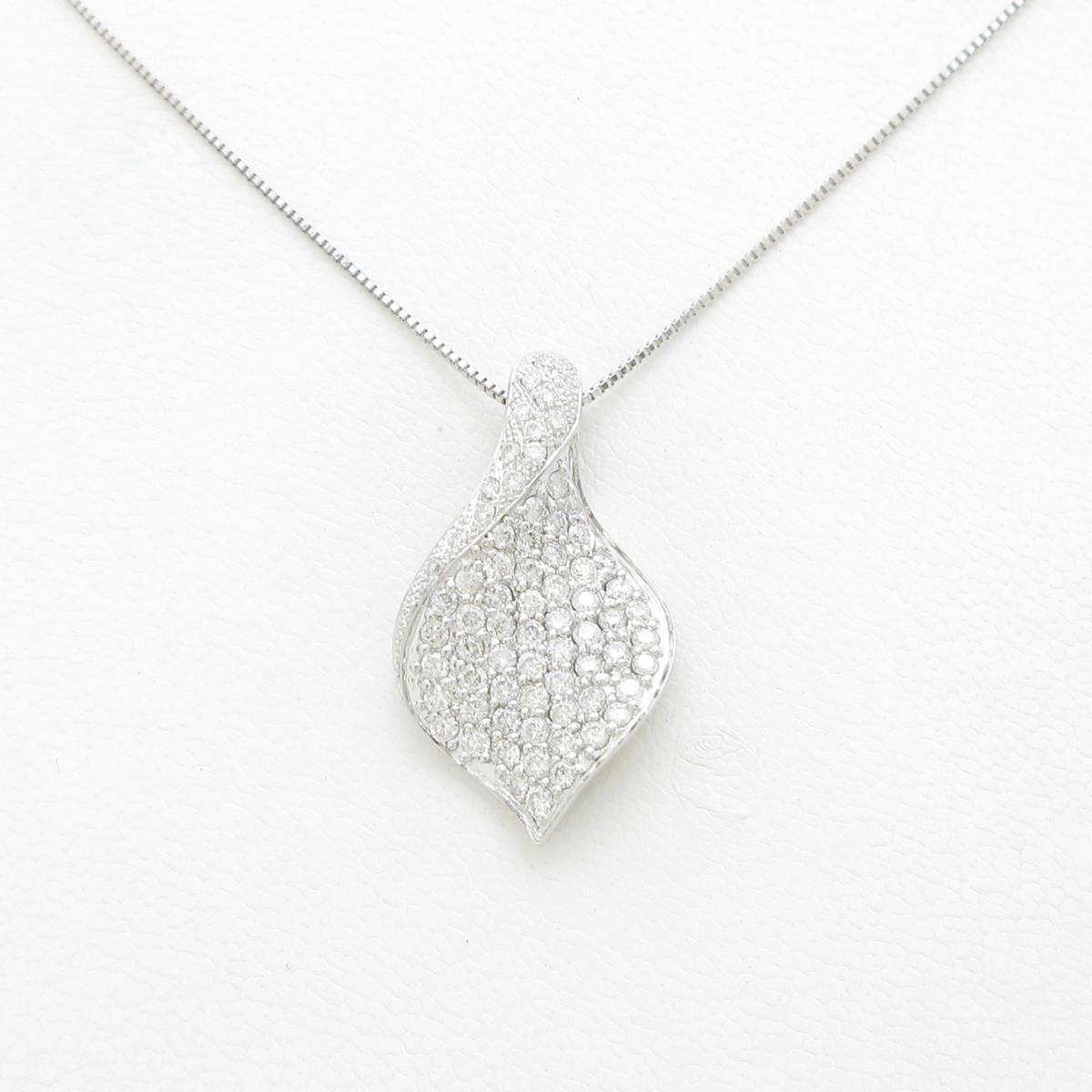 K18WG パヴェ ダイヤモンドネックレス【中古】