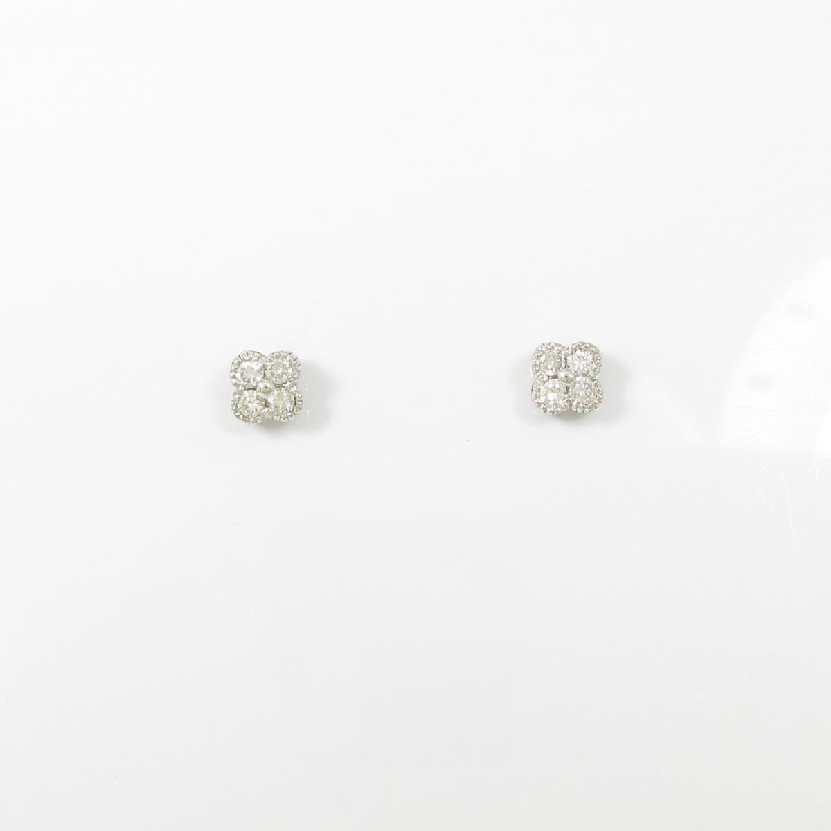 【リメイク】K18WG フラワー ダイヤモンドピアス【中古】
