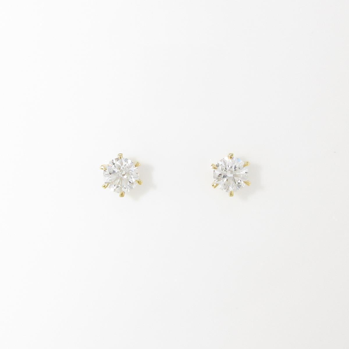 【リメイク】K18YG/ST ダイヤモンドピアス 0.308ct・0.321ct・E-F・VS1・EX H&C【中古】