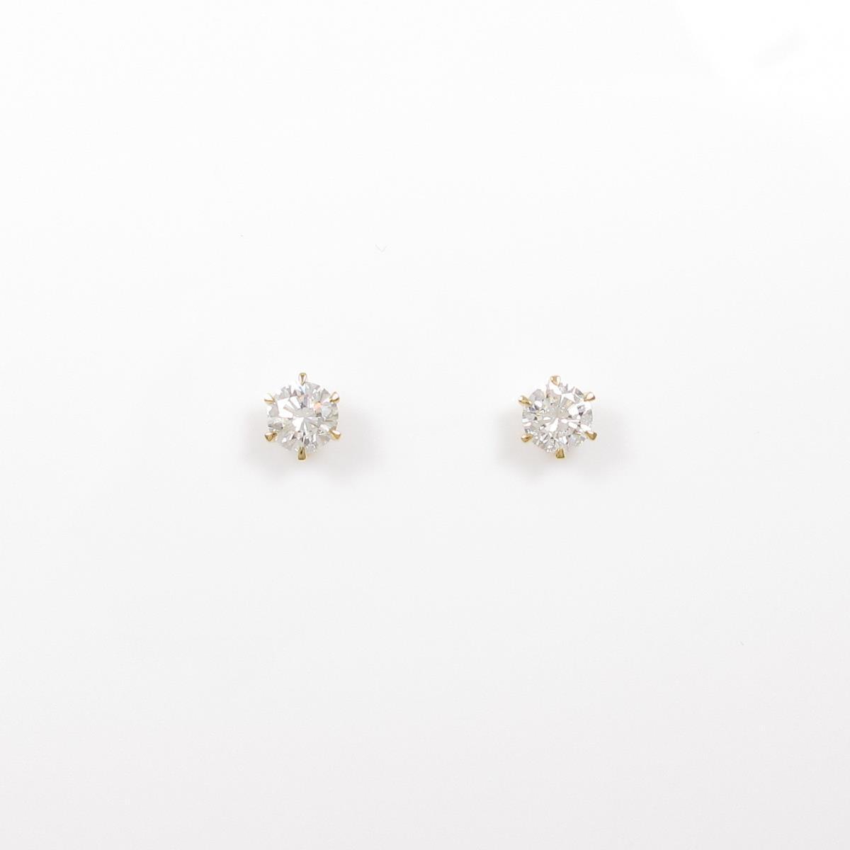 【リメイク】K18YG/ST ダイヤモンドピアス 0.268ct・0.286ct・F・VS2・GOOD【中古】