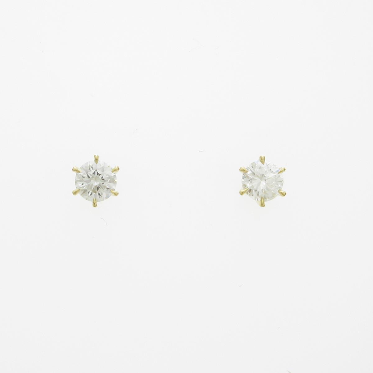 【新品】K18YG ダイヤモンドピアス 0.209ct・0.200ct・F・SI1-2・GOOD【新品】