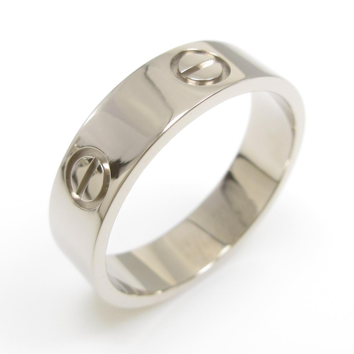 リング K18WG 15号 ダイヤ1.56ct 新品仕上げ 12.6ミリ パール 中古 真珠 指輪