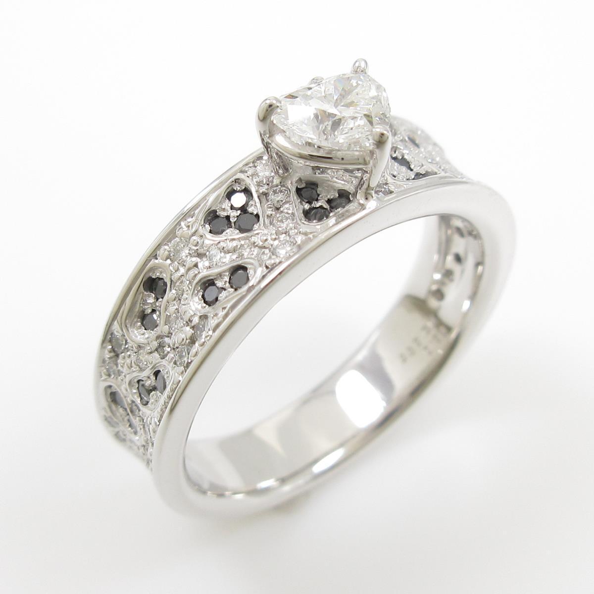 K18WG ダイヤモンドリング 0.385ct・E・VS2・ハートシェイプ【中古】