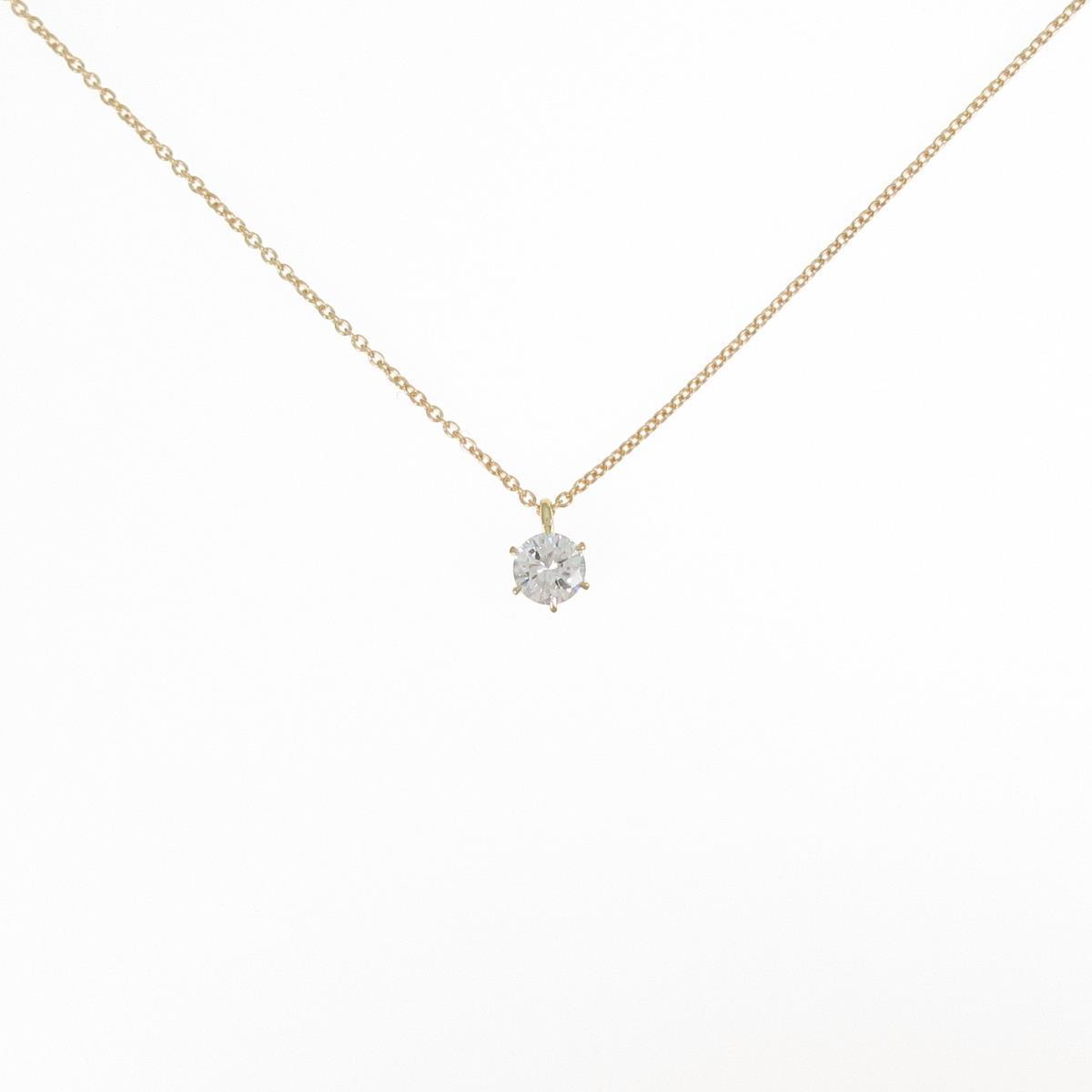 K18YG ダイヤモンドネックレス 0.296ct・H・SI1・GOOD【中古】