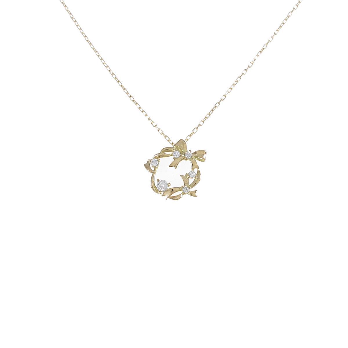 【リメイク】K18YG リボン ダイヤモンドネックレス【中古】