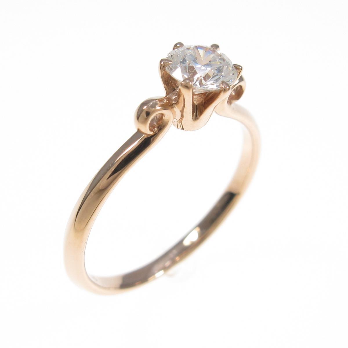 K18PG ダイヤモンドリング 0.281ct・E・VS1・3EX H&C【中古】