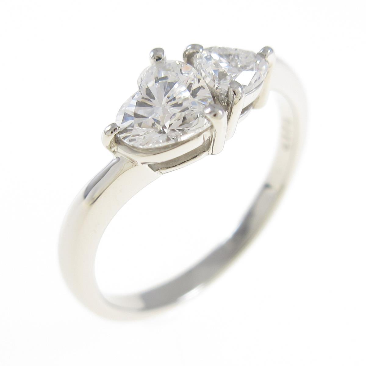 プラチナダイヤモンドリング 0.453ct・0.178ct・E・SI1-2・ハートシェイプ【中古】