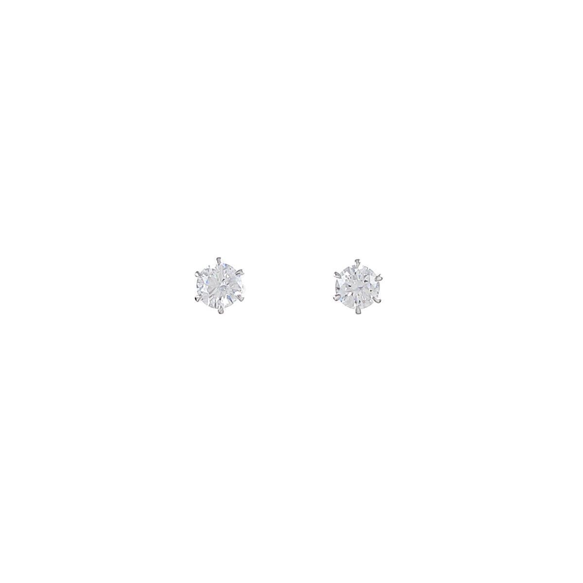 【リメイク】プラチナダイヤモンドピアス 0.205ct・0.215ct・D・SI1・VG【中古】