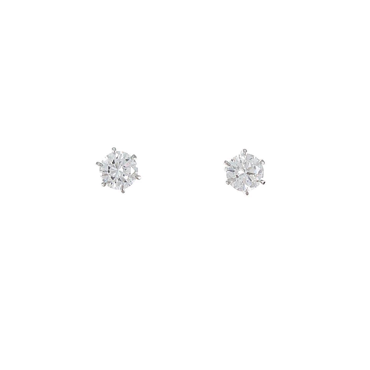 【リメイク】ST/プラチナダイヤモンドピアス 0.636ct・F・SI1・VG【中古】