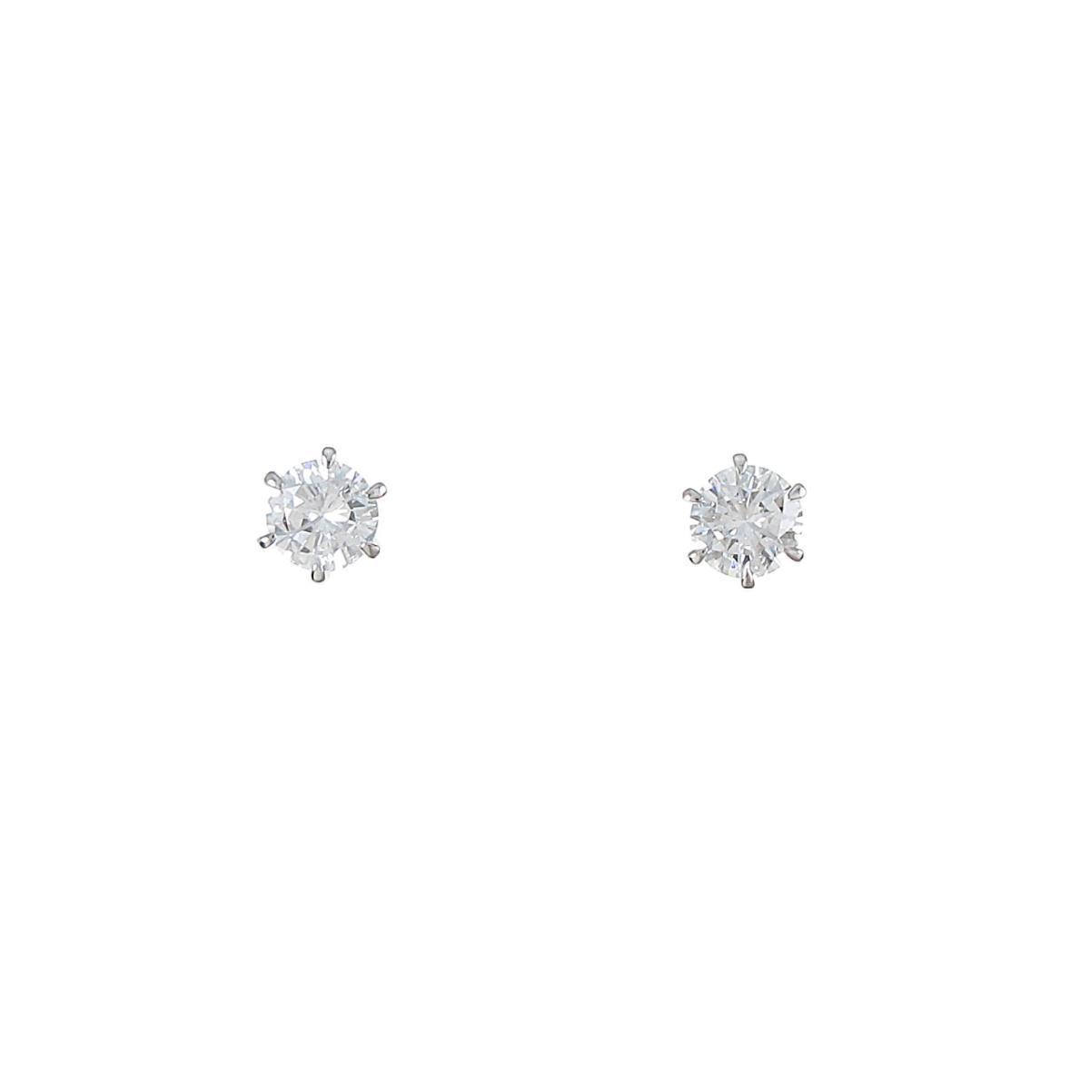 プラチナダイヤモンドピアス 0.402ct・0.403ct・E-F・VS1・VG【中古】