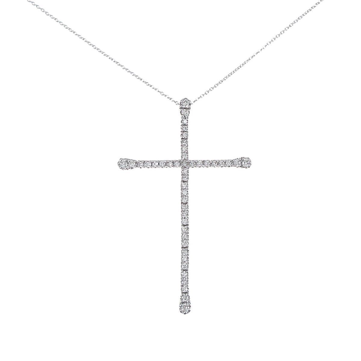 K18WG クロス ダイヤモンドネックレス【中古】