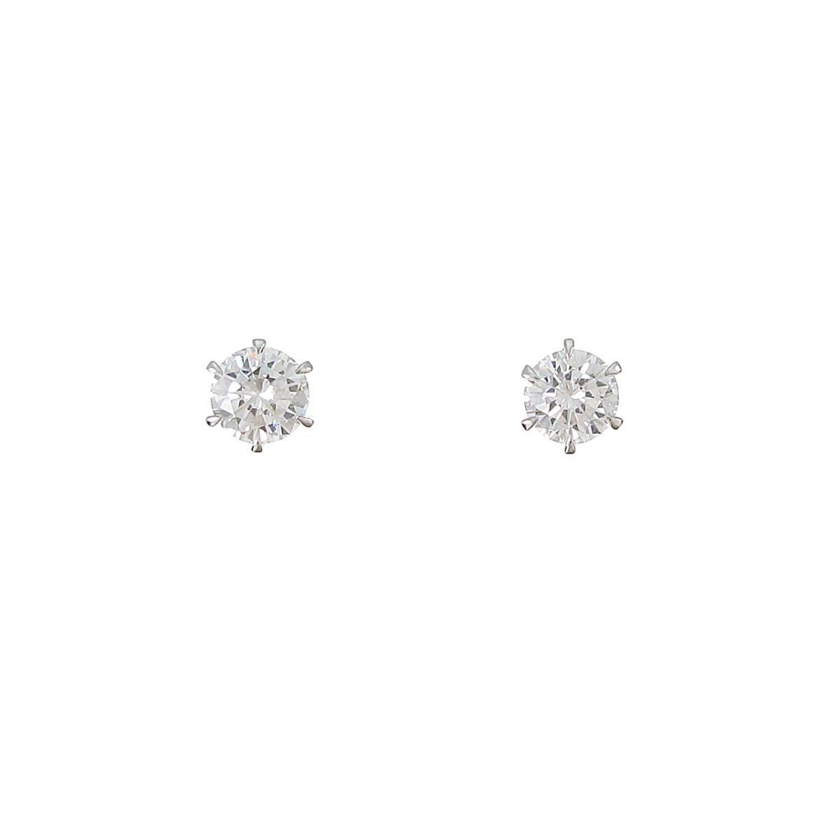 【リメイク】プラチナ/ST ダイヤモンドピアス 0.327ct・0.347ct・E・VS1-2・VG【中古】
