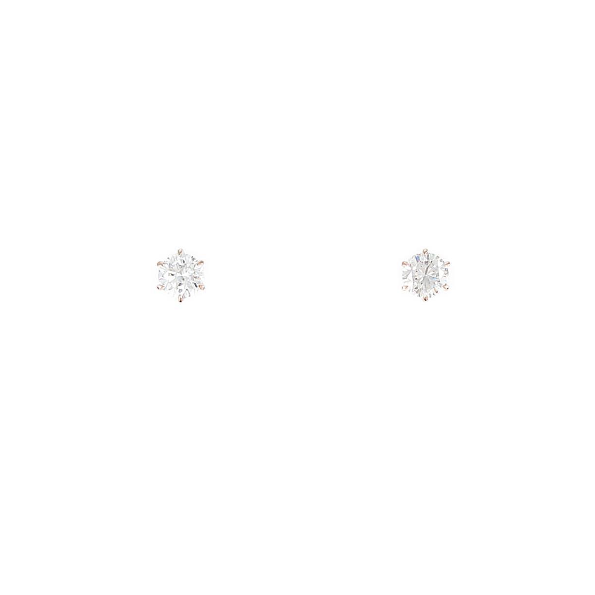 【リメイク】K18PG ダイヤモンドピアス 0.235ct・0.235ct・J・VS2・GOOD【中古】