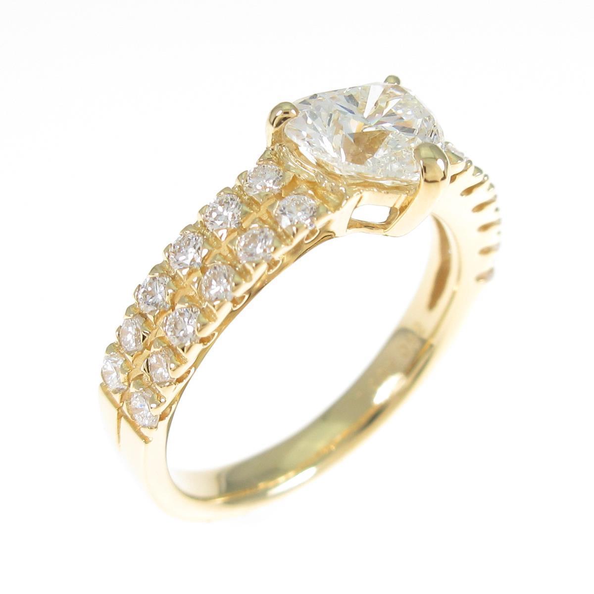 【リメイク】K18YG ダイヤモンドリング 1.001ct・H・SI1・ハートシェイプ【中古】