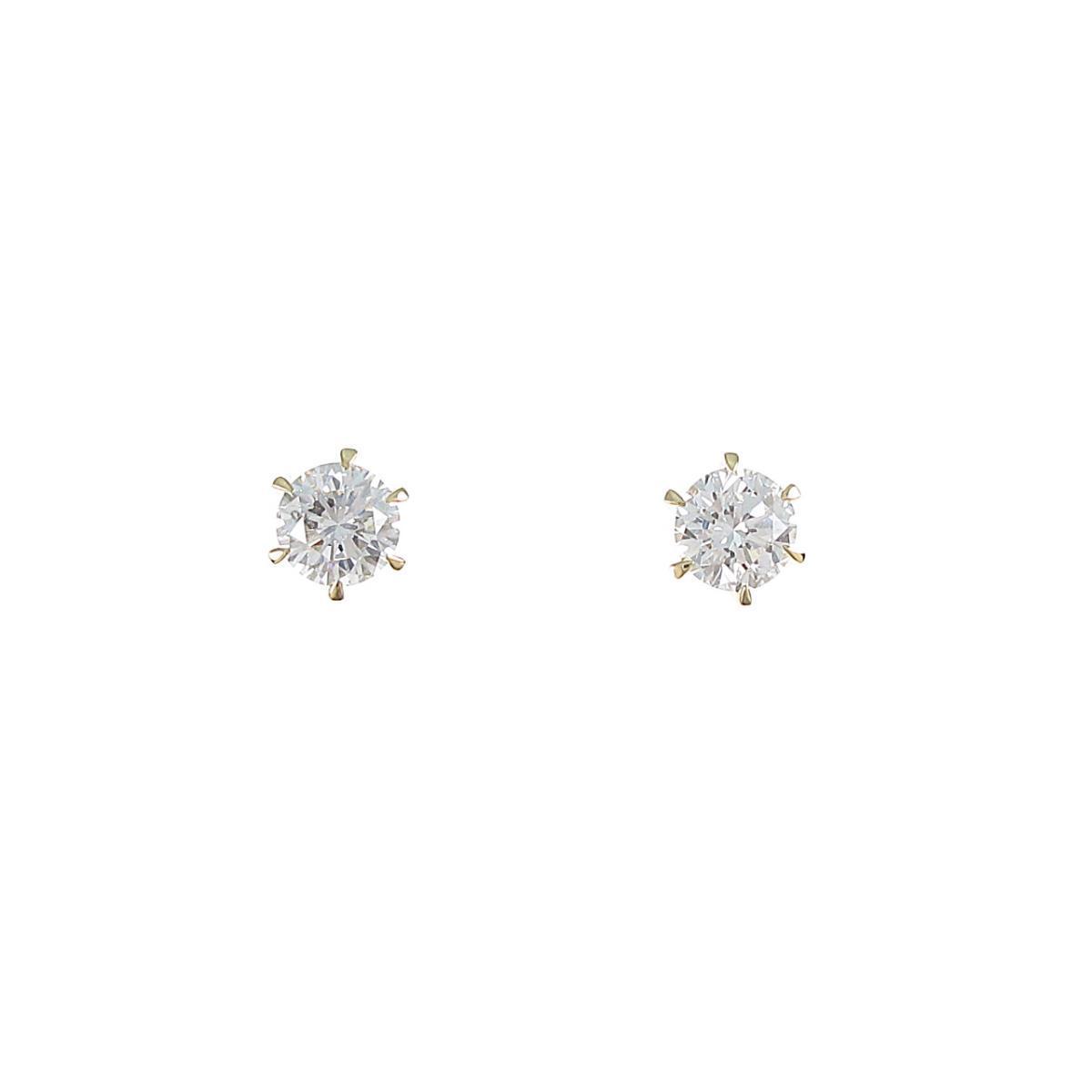 【リメイク】K18YG/ST ダイヤモンドピアス 0.352ct・0.372ct・G-H・SI2・VG-GOOD【中古】