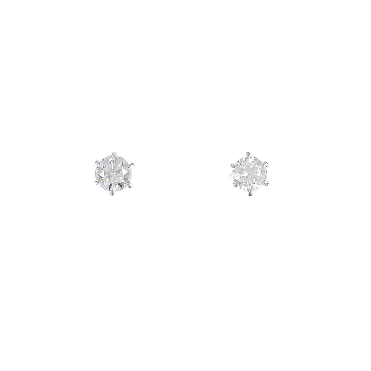 【リメイク】プラチナ/ST ダイヤモンドピアス 0.213ct・0.234ct・D・VS1・EXT H&C【中古】