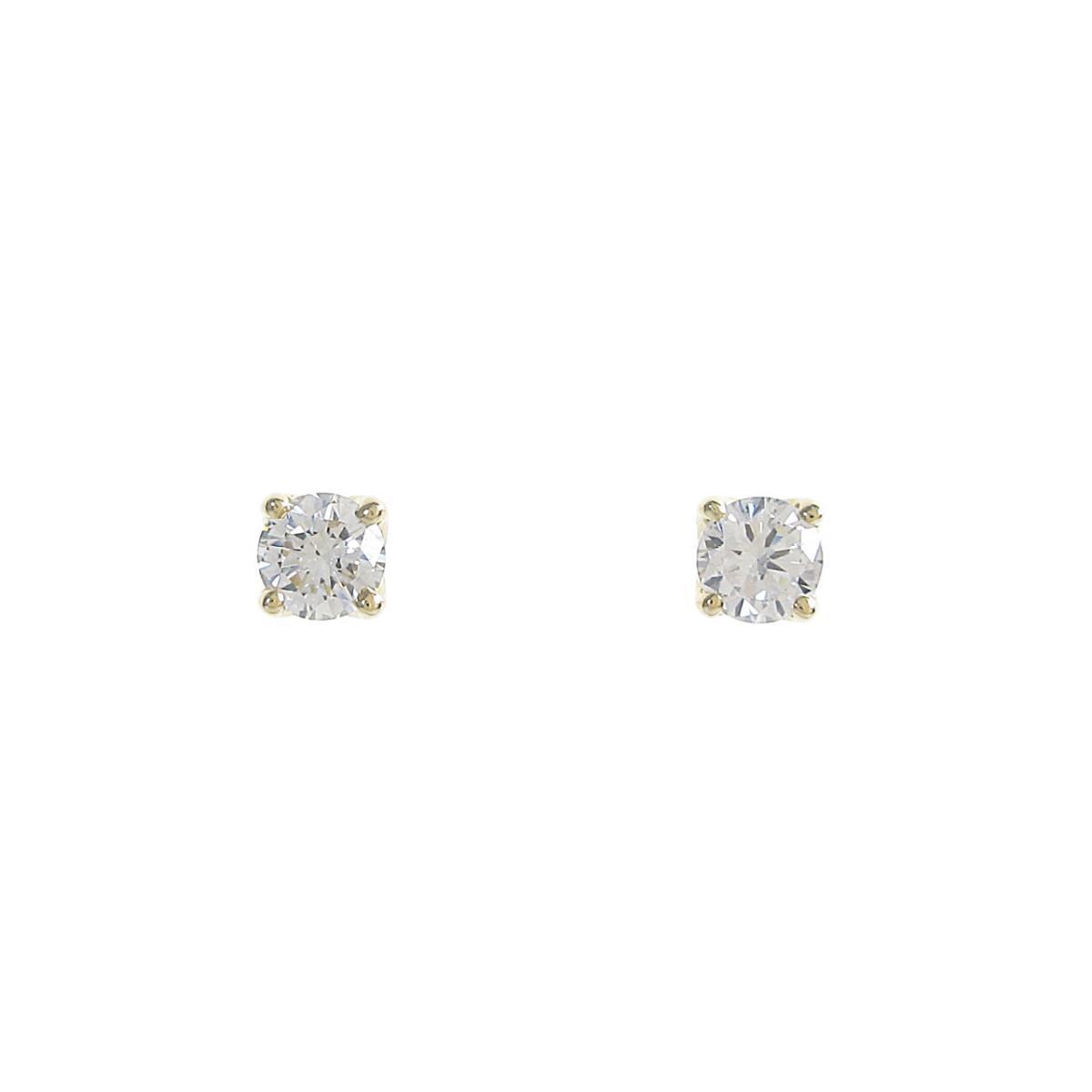 【リメイク】K18YG/ST ダイヤモンドピアス 0.202ct・0.212ct・E・SI1・GOOD【中古】