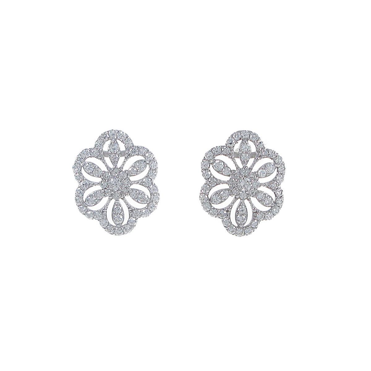 【リメイク】K18WG ダイヤモンドピアス【中古】