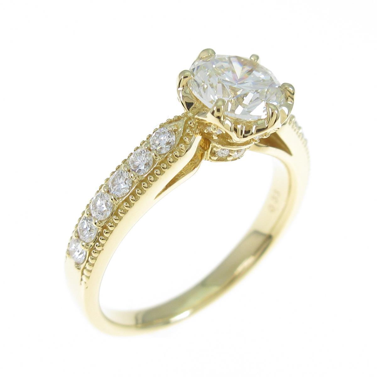 【リメイク】K18YG ダイヤモンドリング 1.042ct・H・SI1・GOOD【中古】