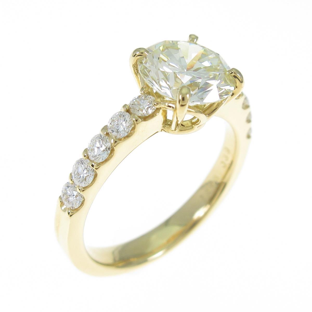 【リメイク】K18YG ダイヤモンドリング 1.556ct・VLY・VS2・GOOD【中古】