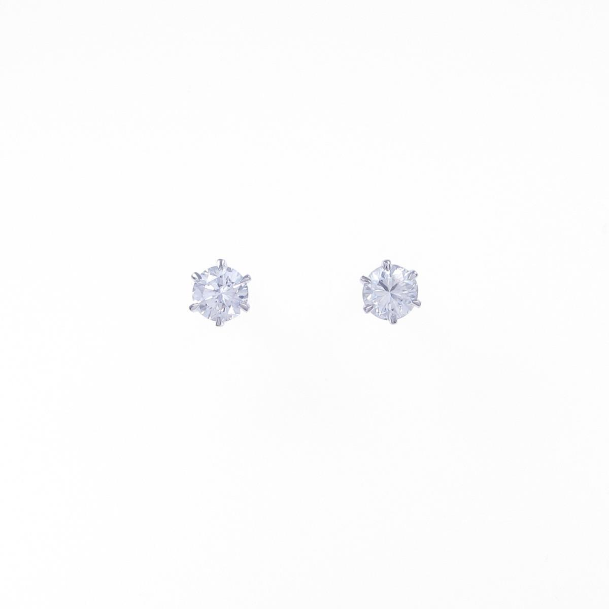 【リメイク】プラチナダイヤモンドピアス 0.208ct・0.209ct・F・SI1・GOOD-F【中古】