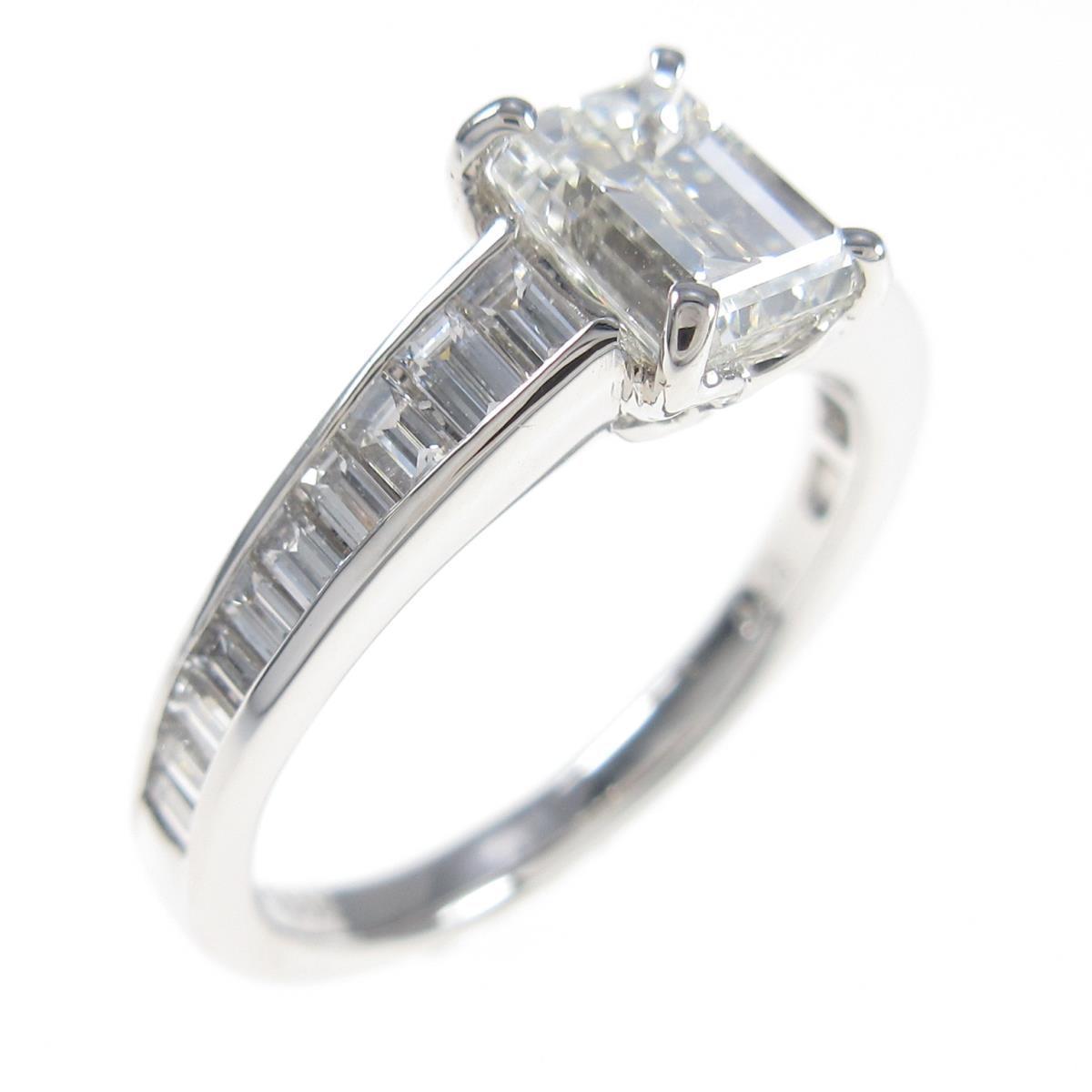 【リメイク】プラチナダイヤモンドリング 1.000ct・H・VS1・エメラルドカット【中古】