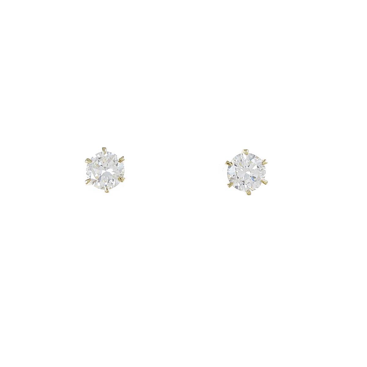 【リメイク】K18YG/ST ダイヤモンドピアス 0.257ct・0.297ct・H-I・VS1-2・GOOD【中古】