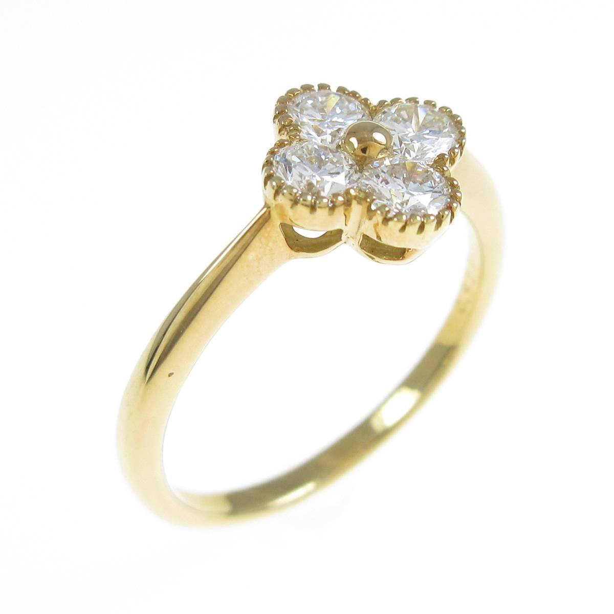【新品】K18YG フラワー ダイヤモンドリング 0.532ct・G-H・SI1-2・GOOD【新品】